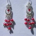 Earrings, Red Dancing Pearl..