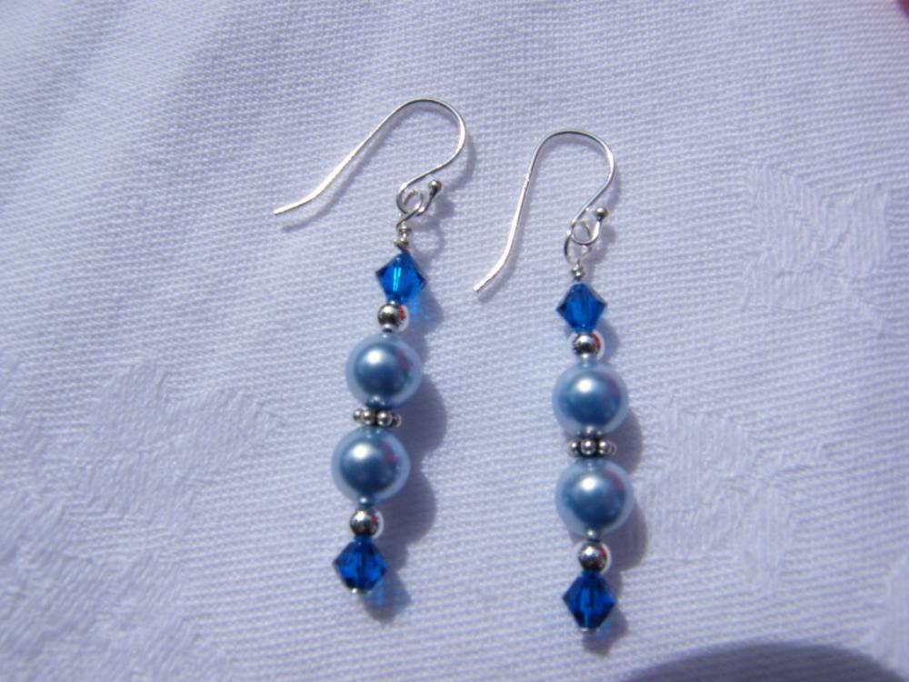 Light Blue Swarovski Pearl Earrings with Capri Blue Crystals