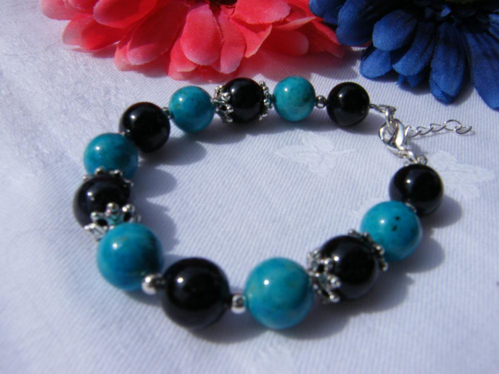 Turquoise & Black Riverstone Bracelet, Adjustable Length