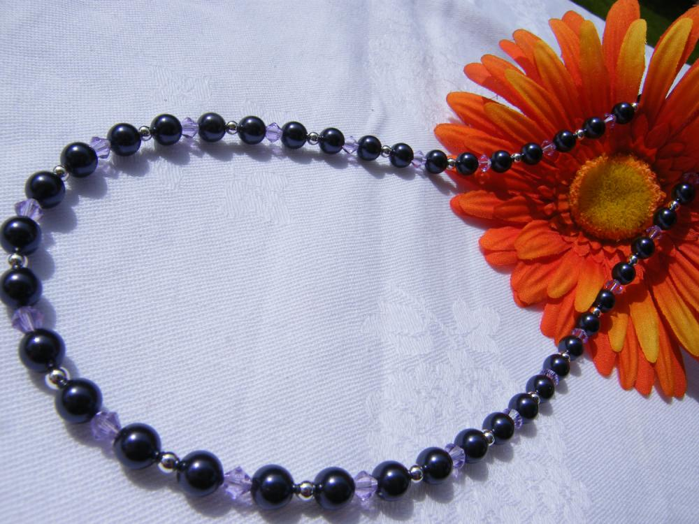 Deep Purple Swarovski Pearl Necklace with Violet Crystals, 18&quot; Length