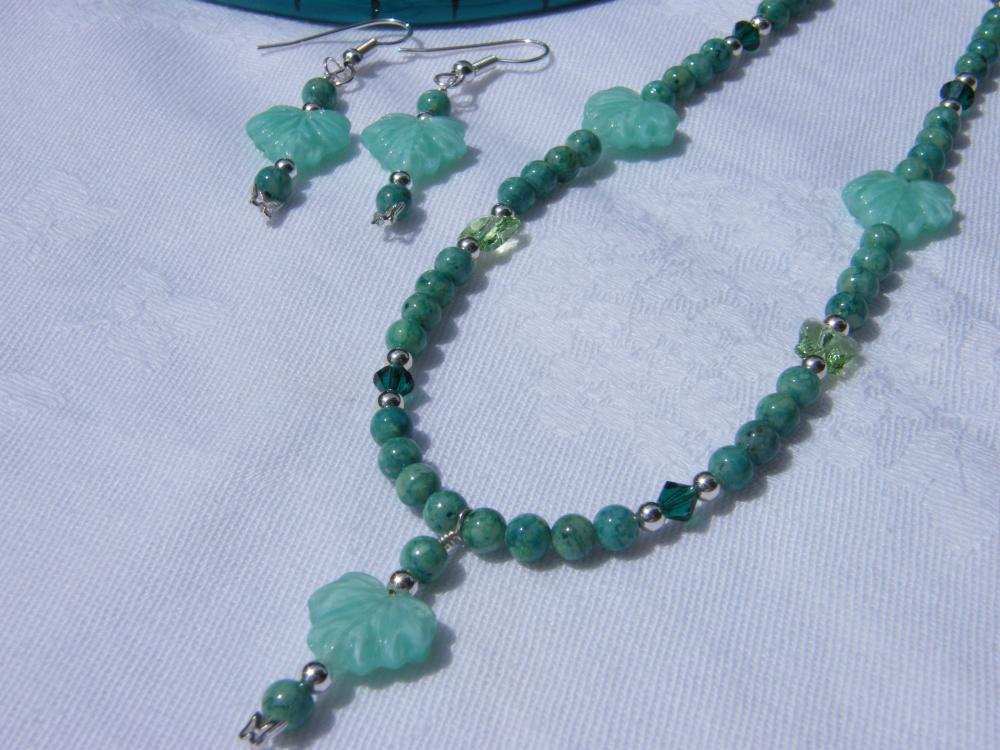 Necklace & Earrings Set, Green Riverstone, Swarovski Crystals, Glass Leaves