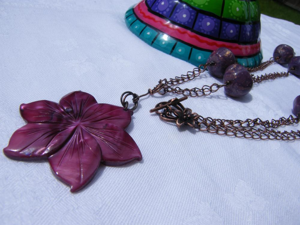 Necklace, Purple Lucite Beads on Antique Copper Curb Chain with Mother of Pearl Pendant